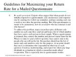 guidelines for maximizing your return rate for a mailed questionnaire55