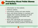 promoting wood pellet stoves and boilers