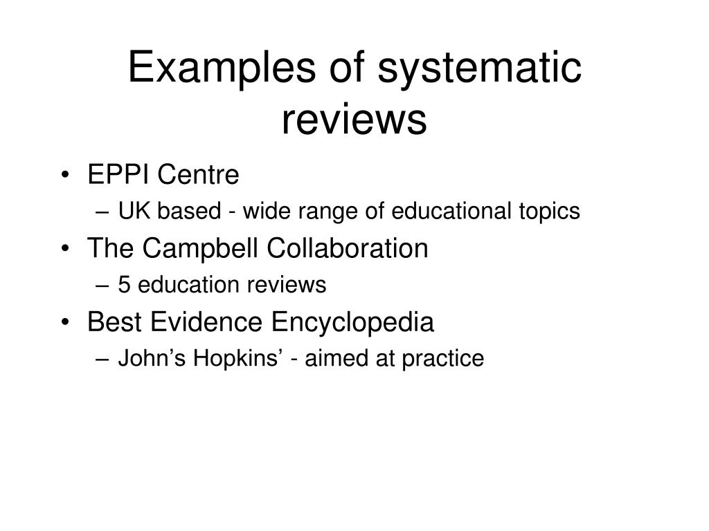 Examples of systematic reviews