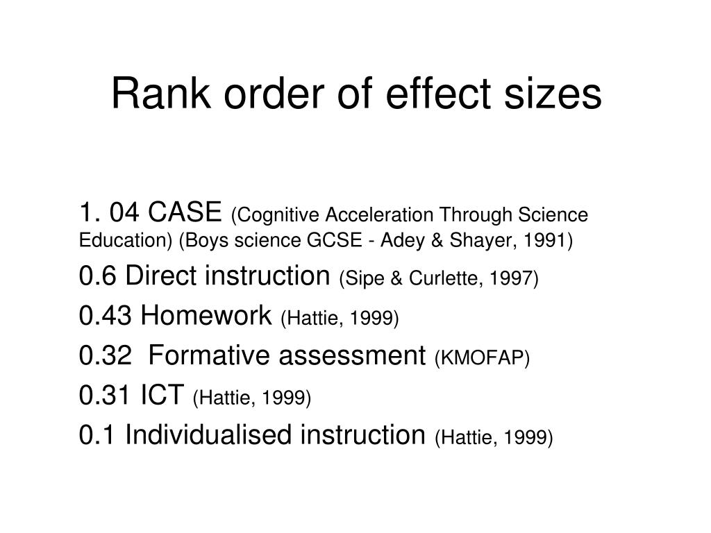 Rank order of effect sizes