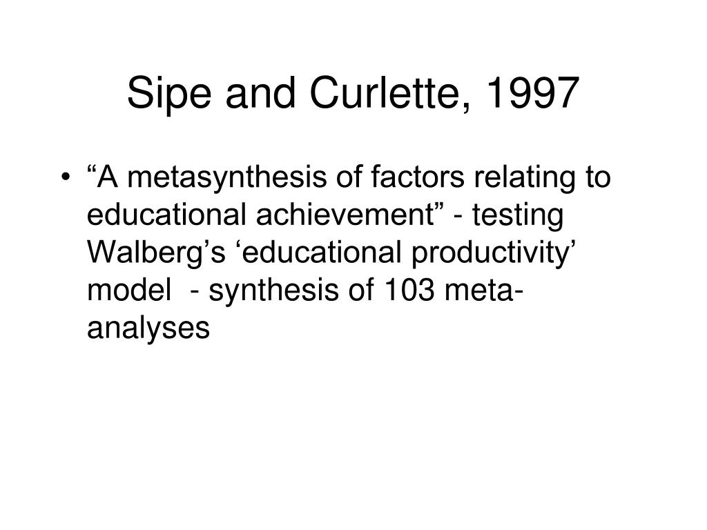 Sipe and Curlette, 1997