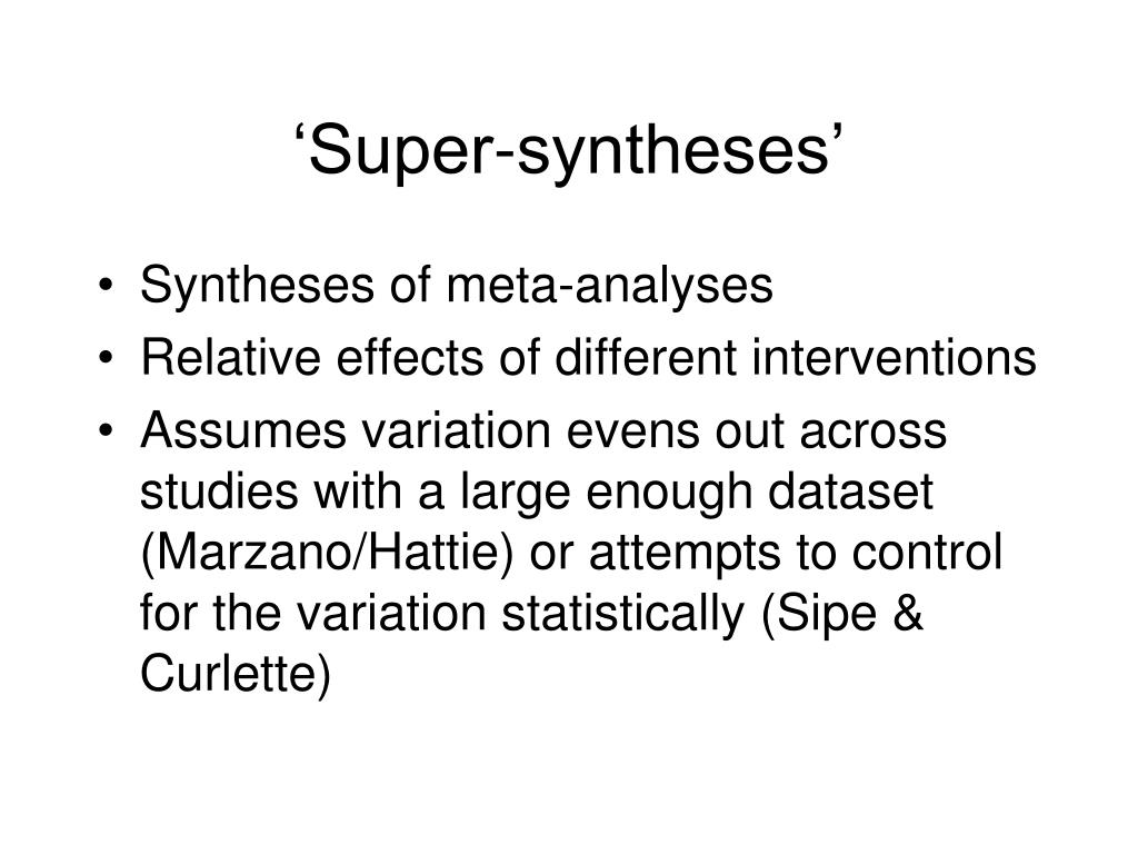 'Super-syntheses'