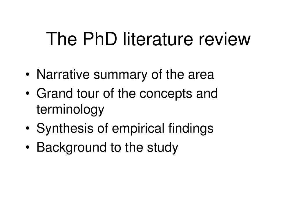 The PhD literature review