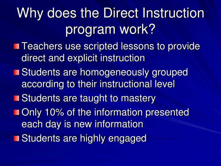 Why does the Direct Instruction program work?