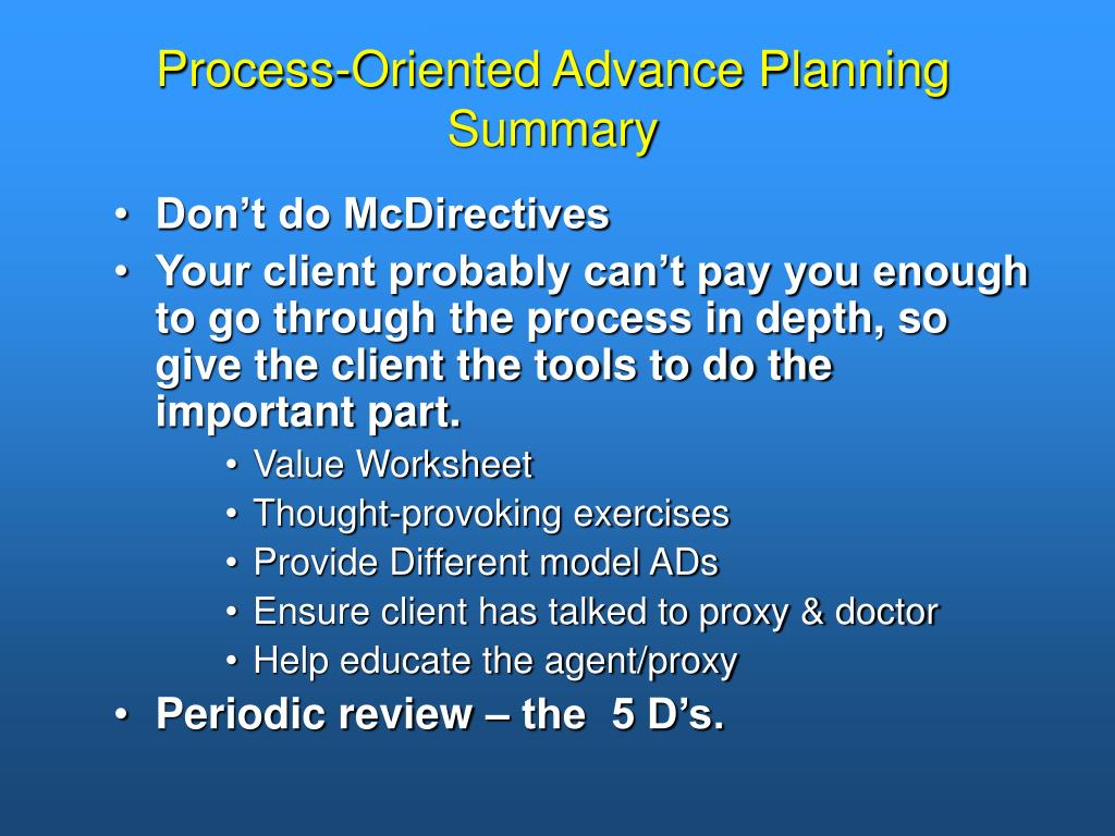Process-Oriented Advance Planning Summary