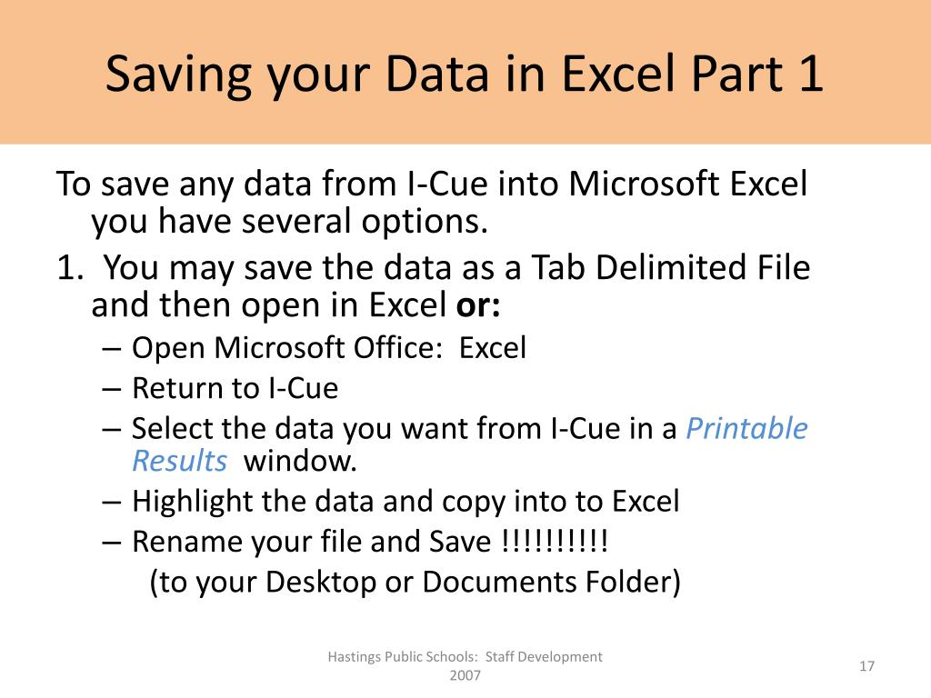 Saving your Data in Excel Part 1