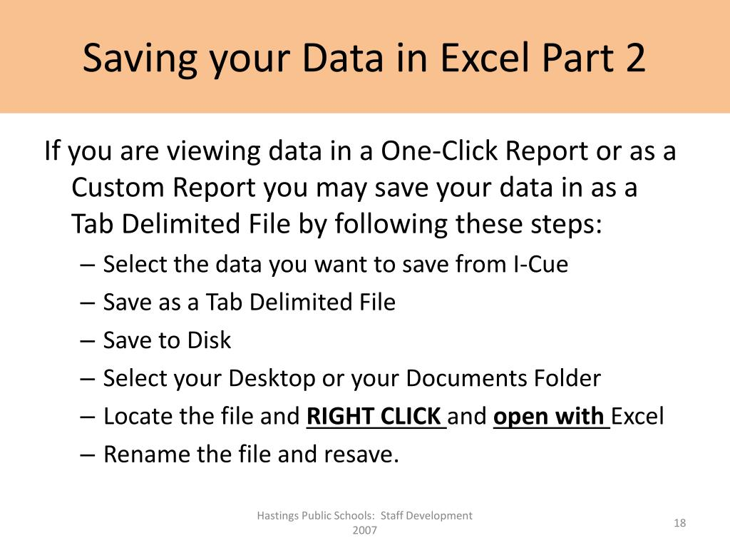 Saving your Data in Excel Part 2