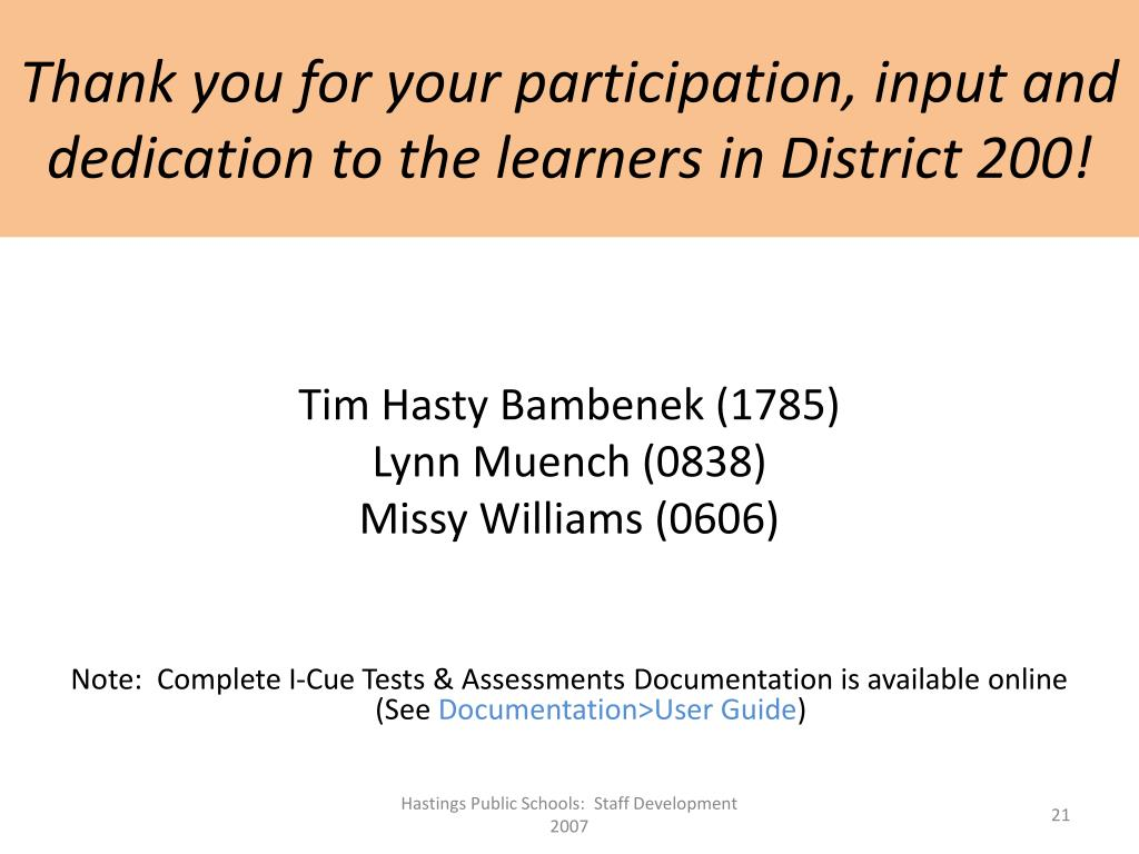 Thank you for your participation, input and dedication to the learners in District 200!