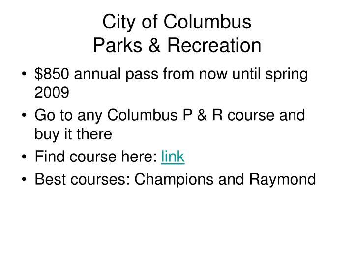 City of columbus parks recreation