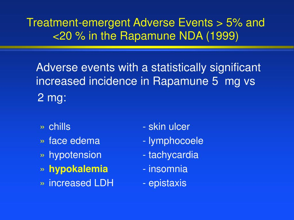 Treatment-emergent Adverse Events > 5% and <20 % in the Rapamune NDA (1999)