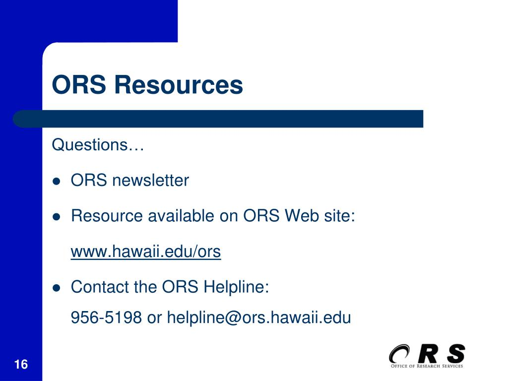 ORS Resources