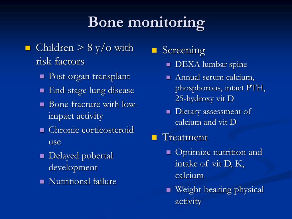 Children > 8 y/o with risk factors