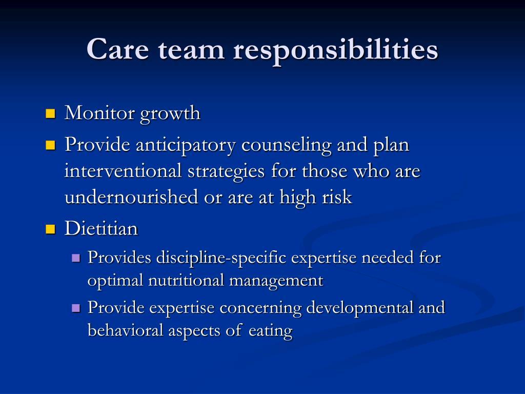 Care team responsibilities