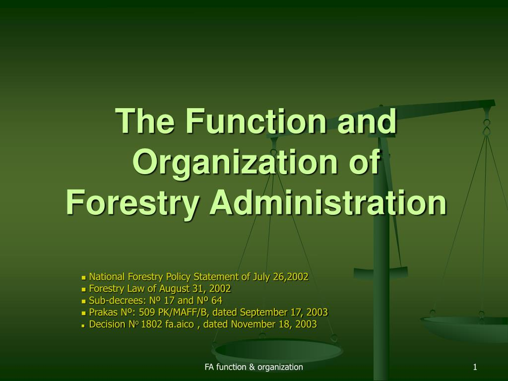 the function and organization of forestry administration l.