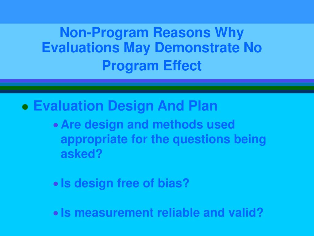 Non-Program Reasons Why Evaluations May Demonstrate No Program Effect