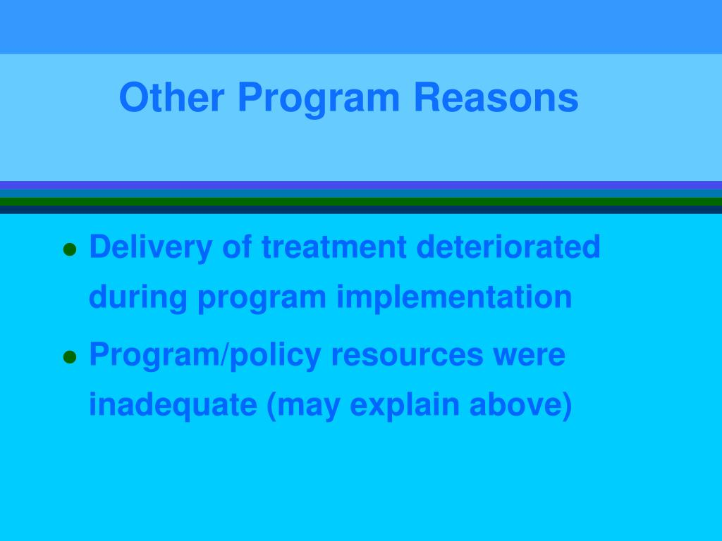 Other Program Reasons
