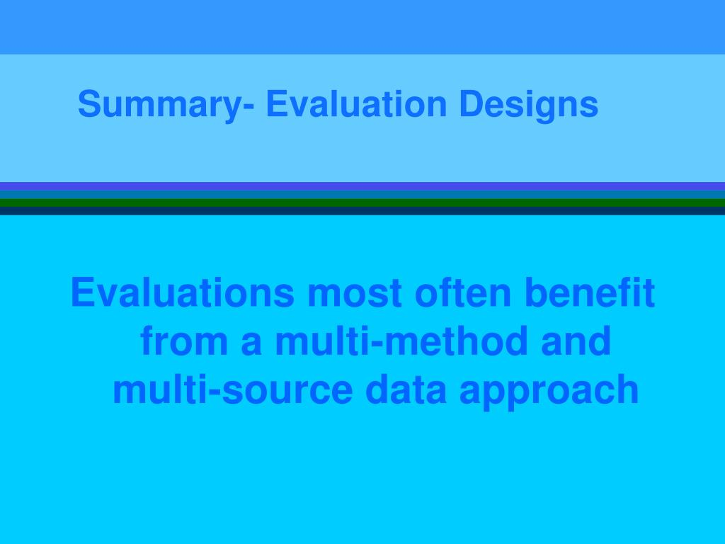 Summary- Evaluation Designs