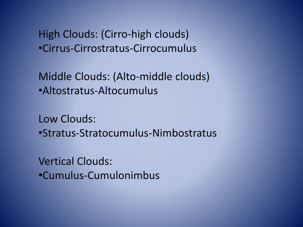 High Clouds: (Cirro-high clouds)