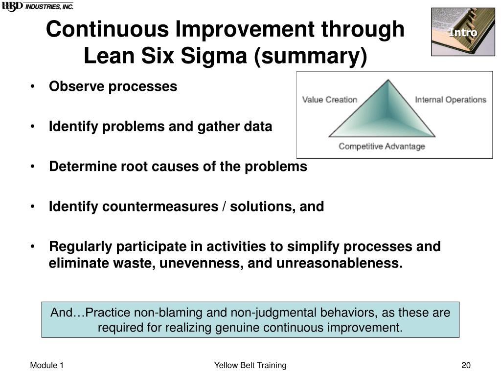 Continuous Improvement through Lean Six Sigma (summary)