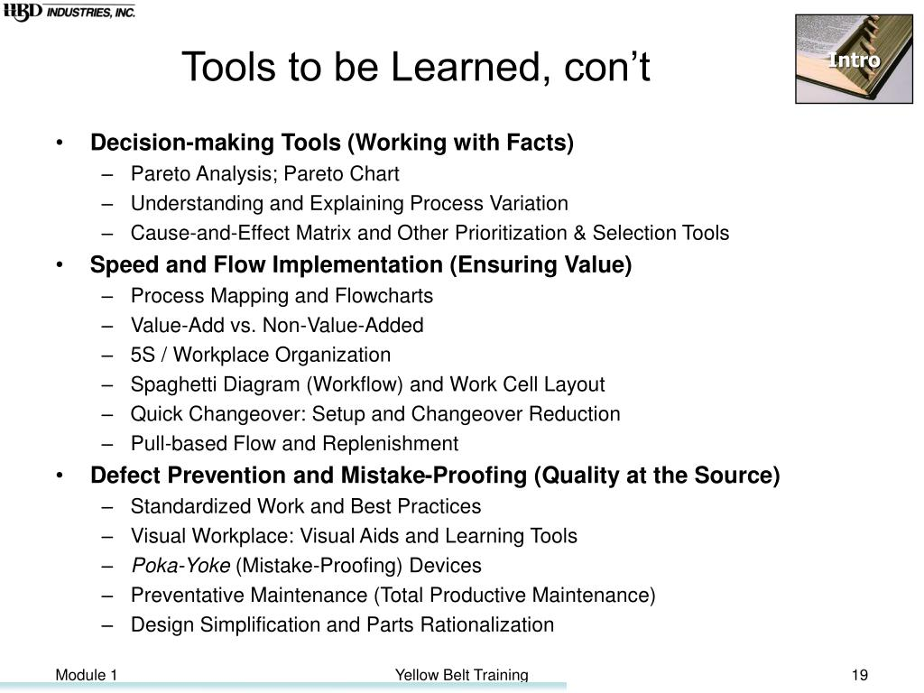 Tools to be Learned, con't
