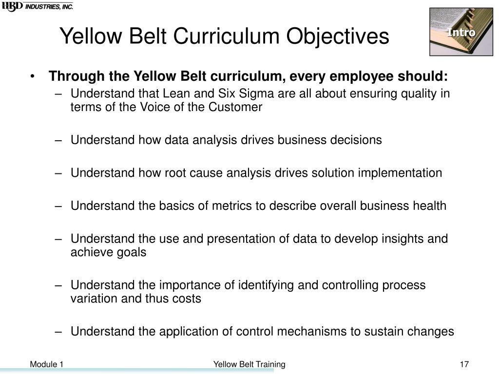 Yellow Belt Curriculum Objectives