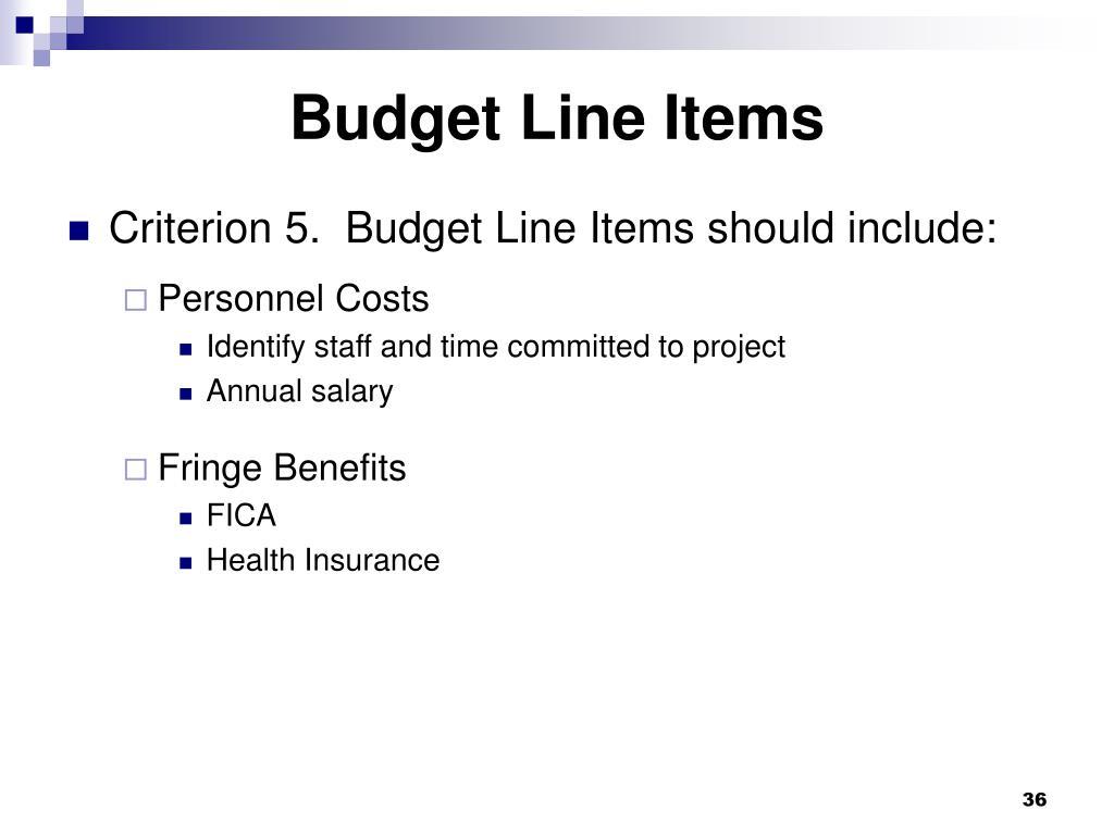 Budget Line Items