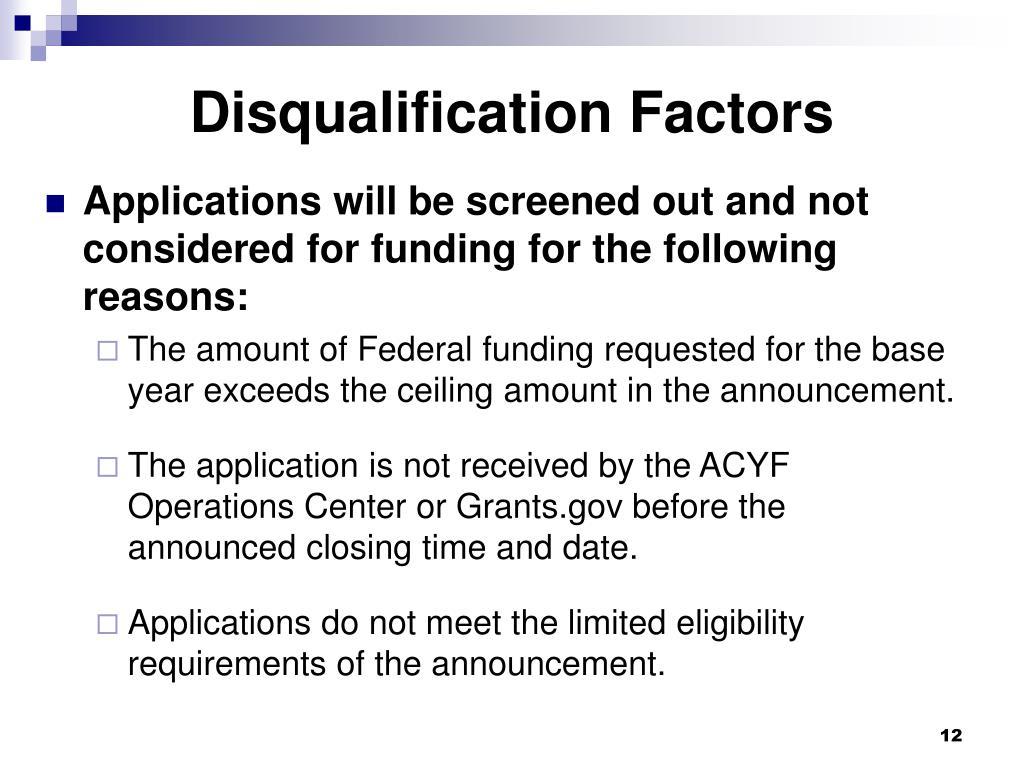 Disqualification Factors