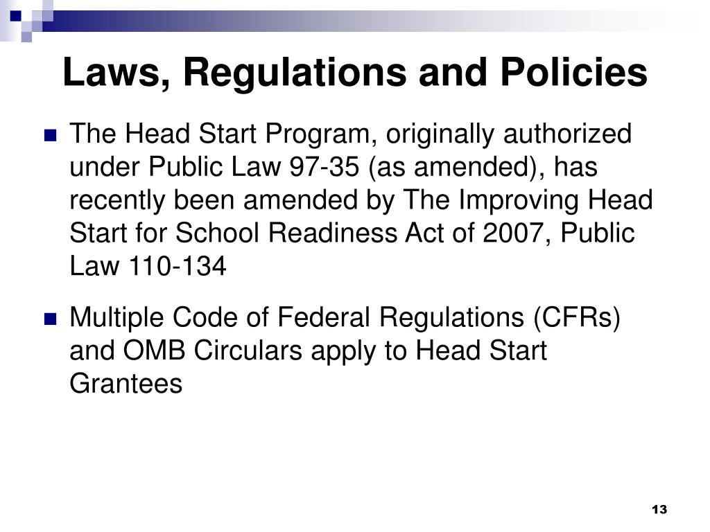 Laws, Regulations and Policies