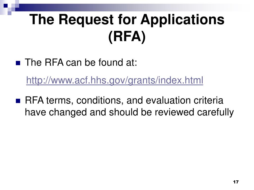 The Request for Applications (RFA)