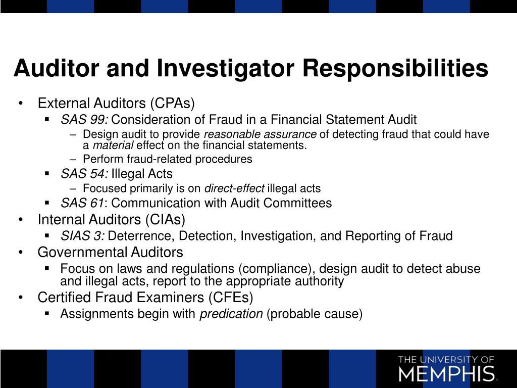 Auditor and Investigator Responsibilities