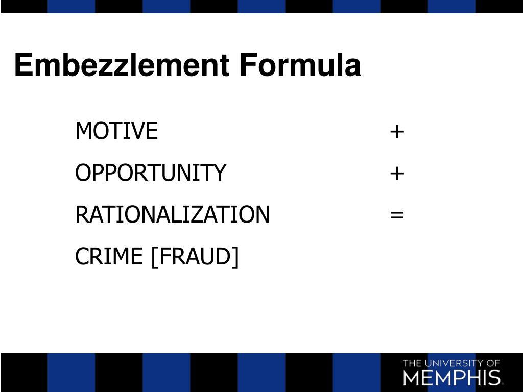 Embezzlement Formula