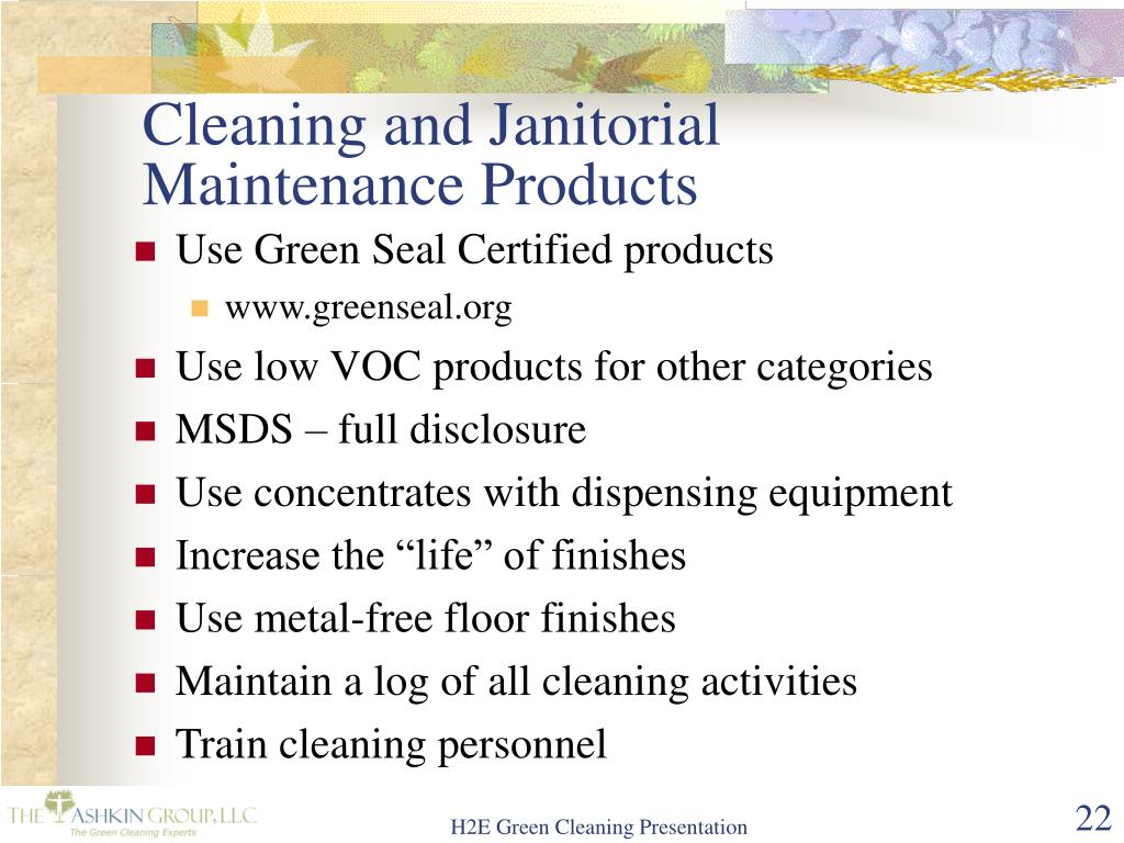 Cleaning and Janitorial Maintenance Products
