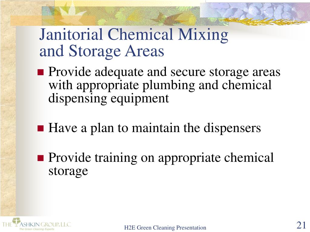 Janitorial Chemical Mixing and Storage Areas