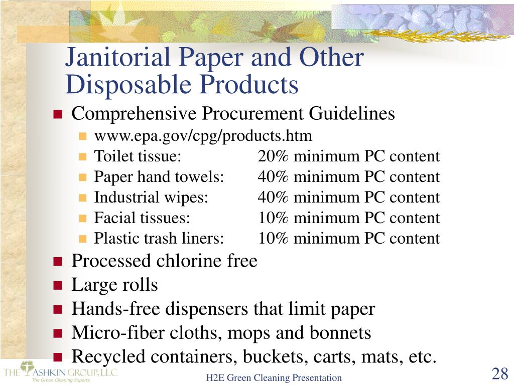 Janitorial Paper and Other Disposable Products
