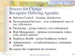 process for change recognize differing agendas