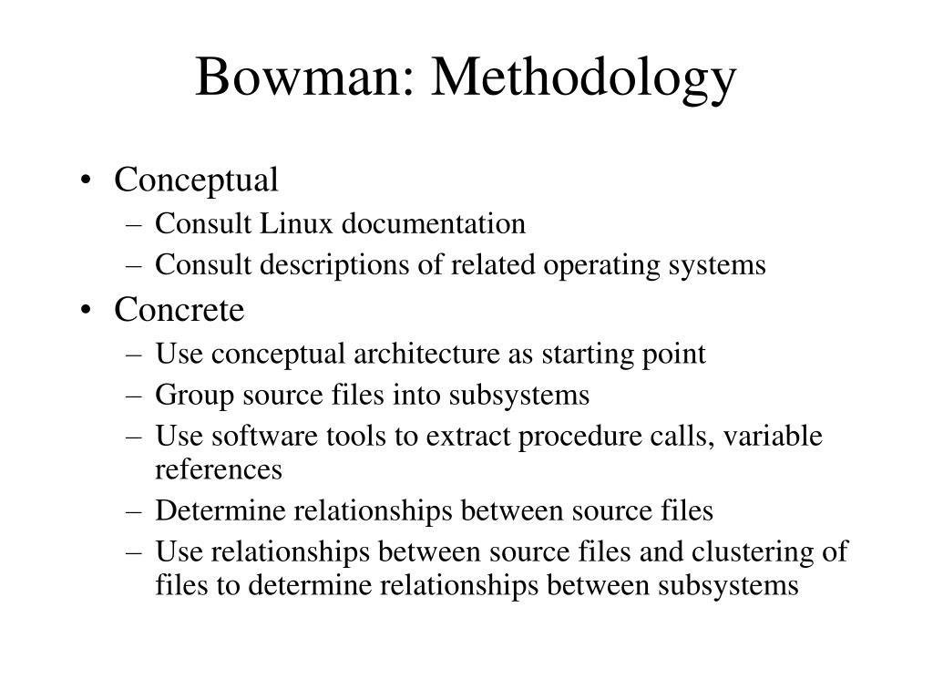 Bowman: Methodology