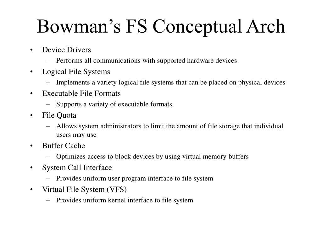 Bowman's FS Conceptual Arch