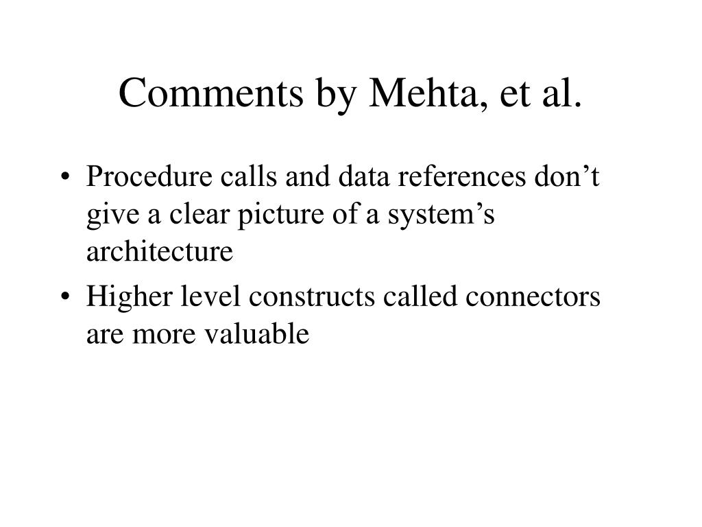 Comments by Mehta, et al.