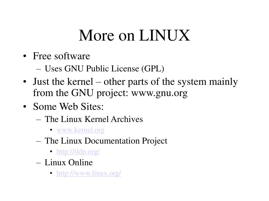 More on LINUX