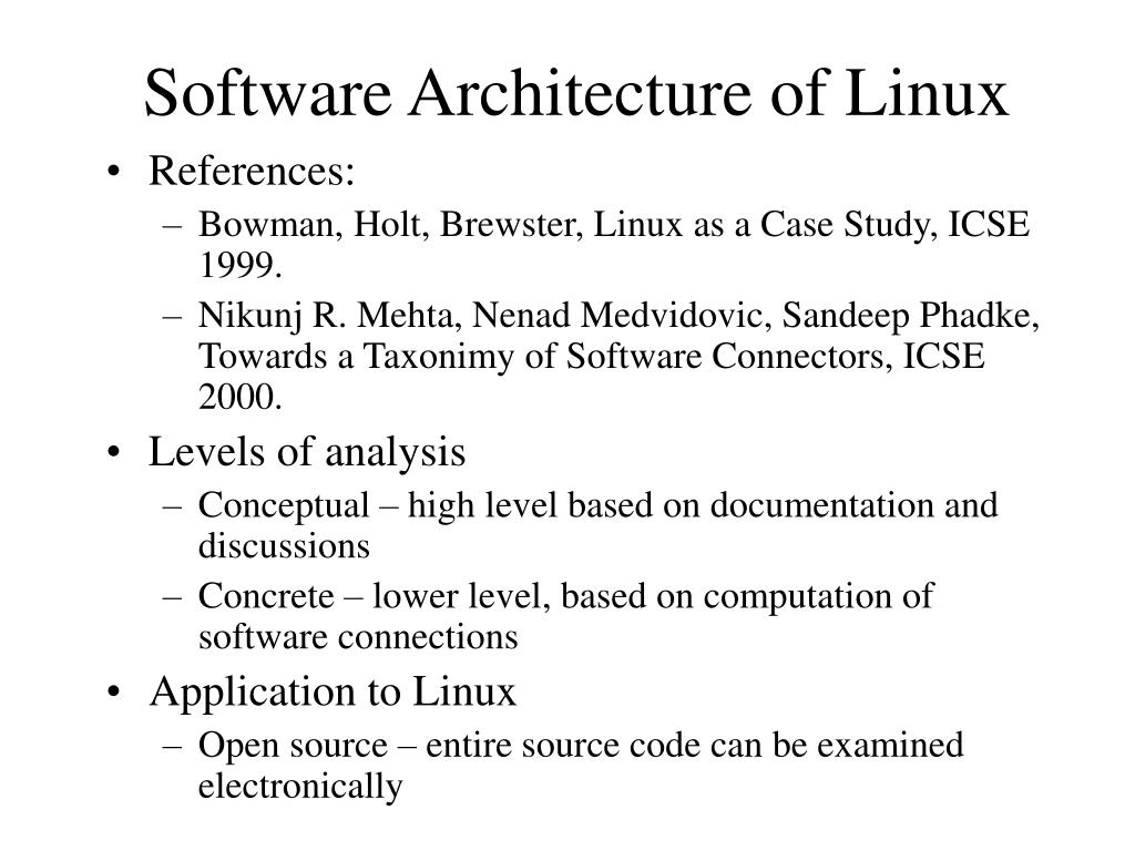 Software Architecture of Linux
