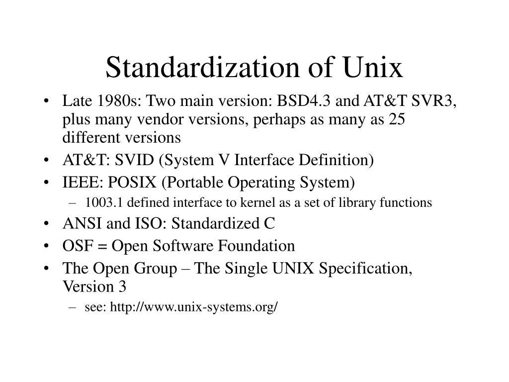 Standardization of Unix