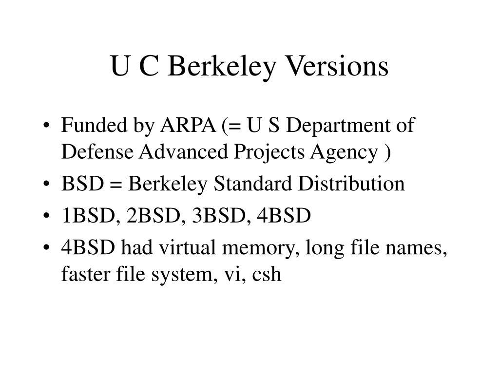 U C Berkeley Versions