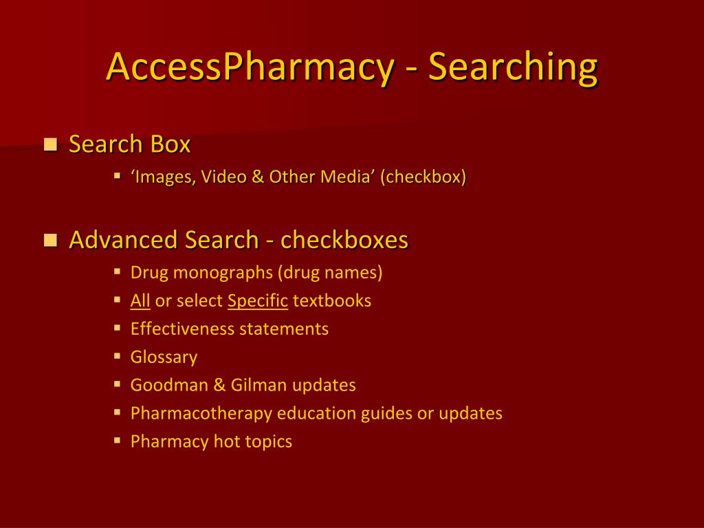AccessPharmacy - Searching