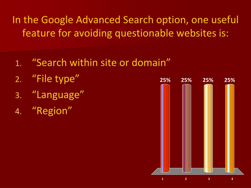 In the Google Advanced Search option, one useful feature for avoiding questionable websites is: