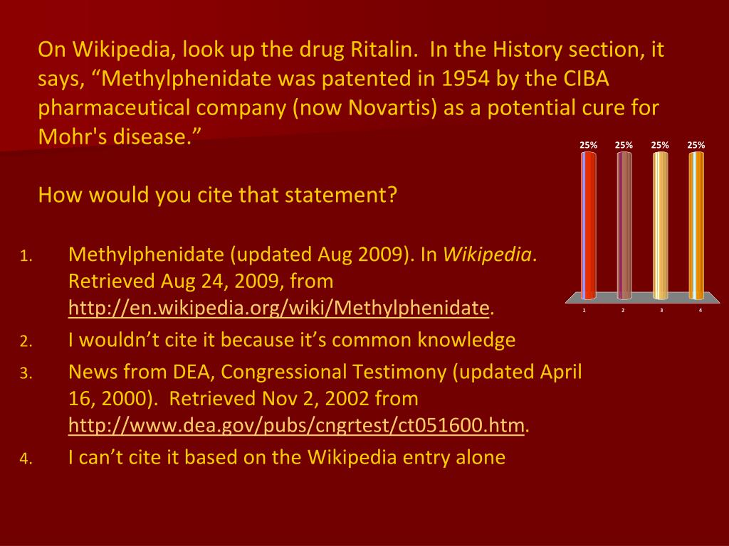 """On Wikipedia, look up the drug Ritalin.  In the History section, it says, """"Methylphenidate was patented in 1954 by the CIBA pharmaceutical company (now Novartis) as a potential cure for Mohr's disease."""""""