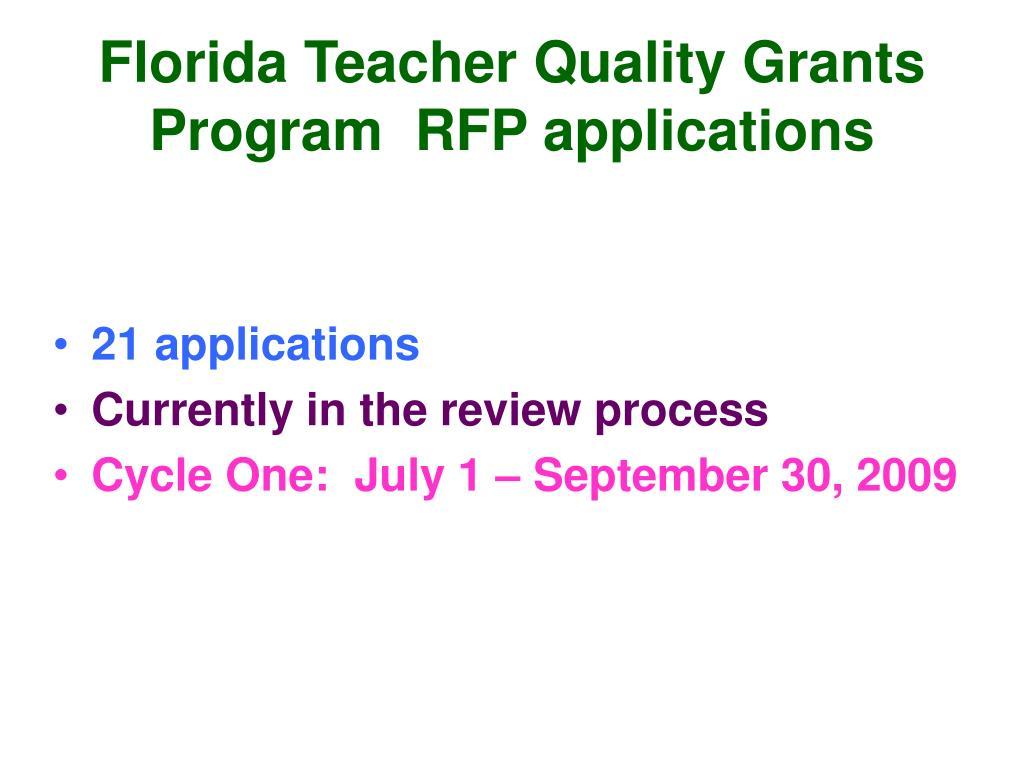Florida Teacher Quality Grants Program  RFP applications