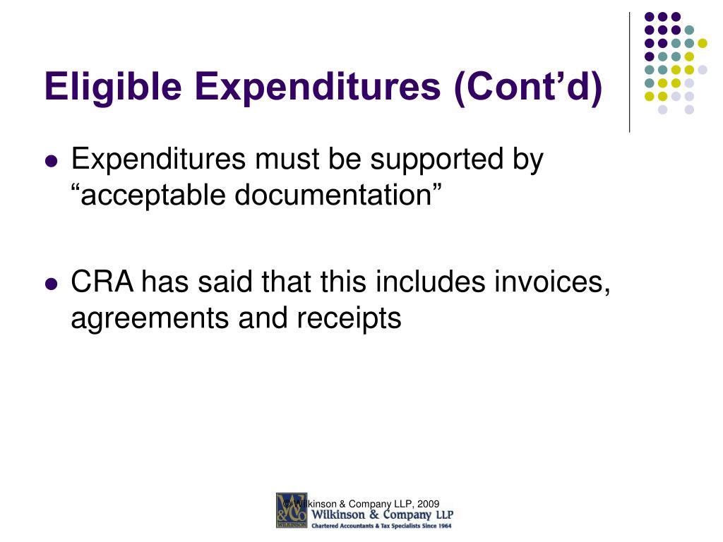 Eligible Expenditures (Cont'd)