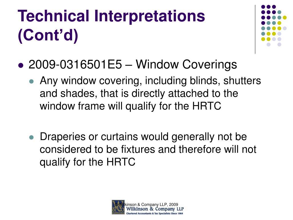 Technical Interpretations (Cont'd)