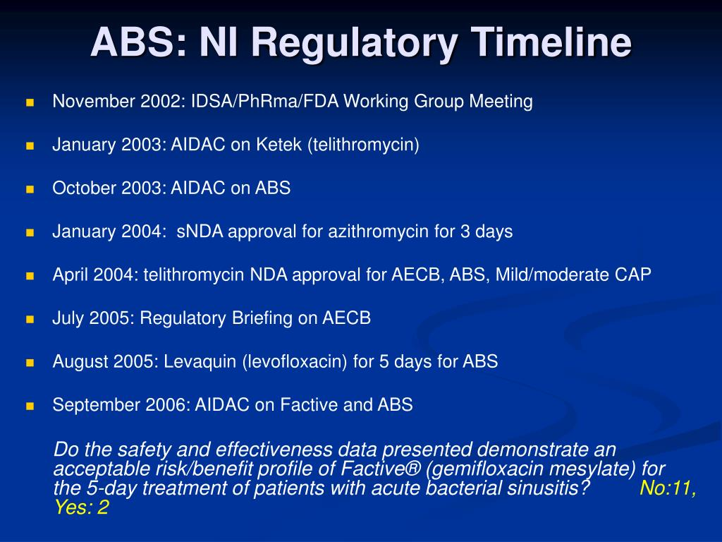 ABS: NI Regulatory Timeline