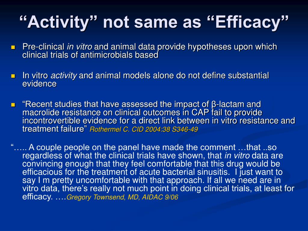 """""""Activity"""" not same as """"Efficacy"""""""